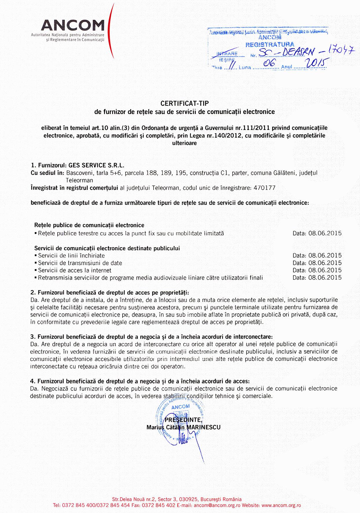 Certificat ANCOM